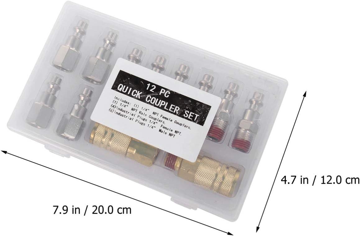 1//4 pulgadas NPT Yardwe conexiones r/ápidas aire comprimido industrial para tubo de aire compresor Acoplador de aire empalmes para tubos de aire comprimido 12 piezas y kit de enchufe