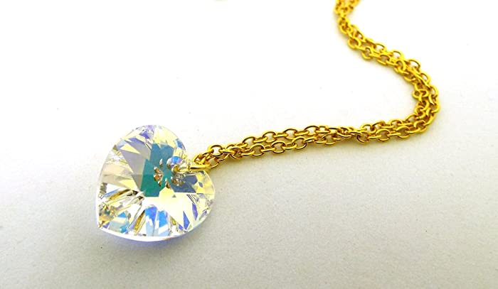 Gold Clear Rhinestone Crystal Heart Pendant Necklace P243