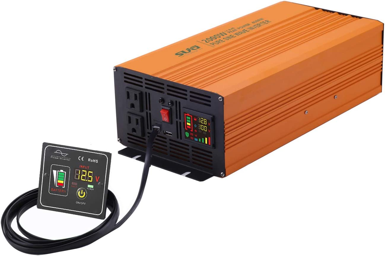 Sug 2000W(Peak 4000W) Power Inverter Pure Sine Wave DC 12V to AC 110V 120V Converter with Remote Control Back up Power Supply for RV, Home, Car Use
