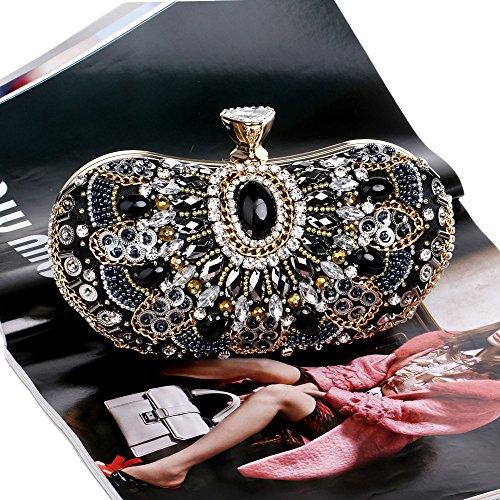 Bolso bordado con perlas, europeos y americanos de lujo vestido de dama de cena de lujo bolsa bordada,Black Black
