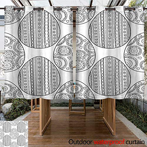 RenteriaDecor Outdoor Curtains for Patio Waterproof Easter Eggs Black and White Seamless Pattern for Coloring Books Pages Vector W108 x L72