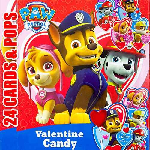 Valentines Day Classroom Exchange Gift | Paw Patrol Characters Chase Marshall Rubble Skye 24 Valentine Cards & 24 Lollipops Candy | Kids DIY DayCare Sunday School Homeschool Art Projects Parties