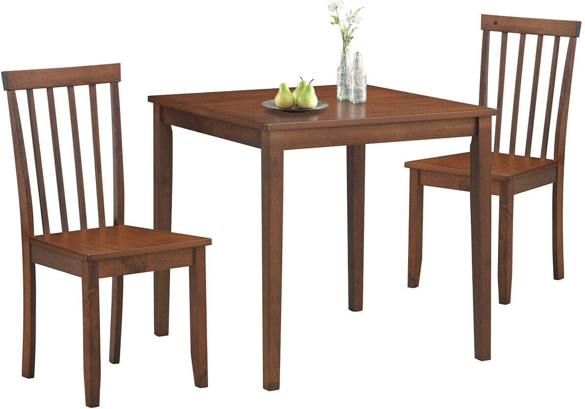 COSTWAY 3-Piece Kitchen Table Dining Set, Square Table & 2 Classic Chairs, Solid Rubber Wood Legs, Wide Table Top, Contemporary Design, Natural Texture, Smooth Walnut Finish, Easy Assembly