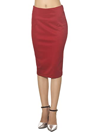 5f3a4c6fd26 iB-iP Women's Elastic Fabric Solid Color Slim fit Bodycon Mid Waist Pencil  Skirt,