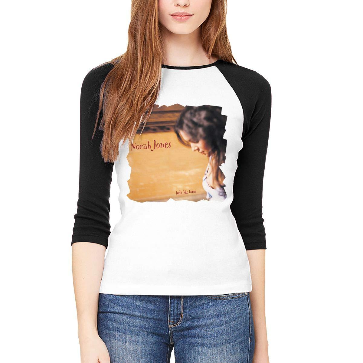 Norah Jones Feels Like Home 34 Sleeve Baseball T Shirt Raglan Tee Black