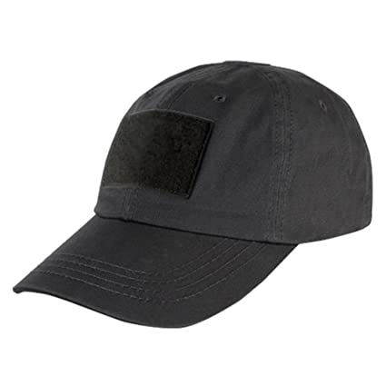 57897a41358 DLP Tactical Camo Operator Hat Baseball Cap with Hook and Loop Fastener  Panels (Black)