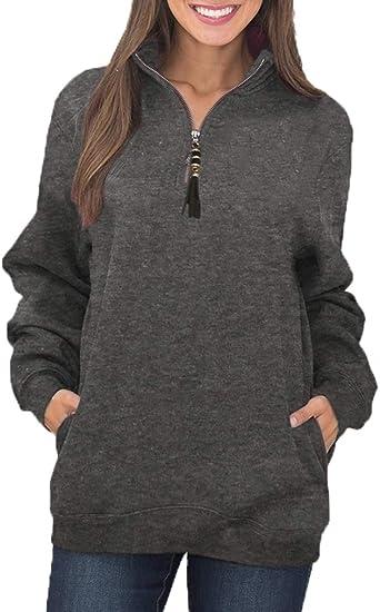 Dearlove Womens Long Sleeve 1//4 Zip Fleece Pullover Sweatshirts Pocket Outwear