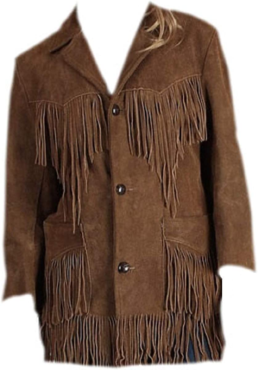 LEATHERAY Mens Fashion Western Cowboy Fringed /& Beaded Jacket Suede Leather Brown XL