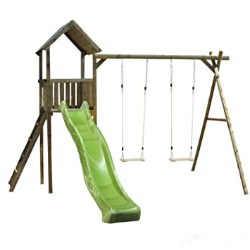 Childrens Wooden Climbing Frame and Swing Set, 1.5 Metre Platform ...