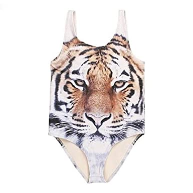 a76f10ff252bf Amazon.com: Fabal Kids Baby Girl Tiger Pattern One Piece Swimsuit Swimwear  Bathing Suit Clothes: Clothing