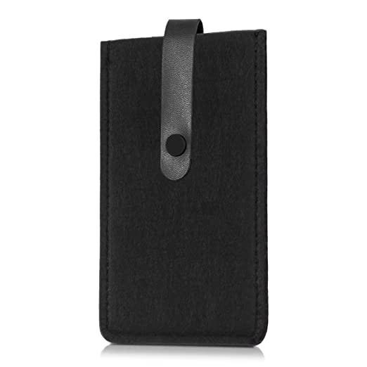 2 opinioni per kwmobile Raffinata custodia di feltro con cinghie in ecopelle per Smartphones in