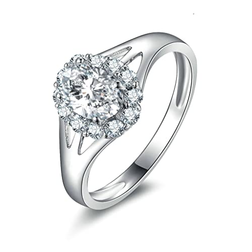 Daesar Joyería Anillos de Compromiso de Plata S925 Mujer, Flor Boda Bandas con Diamantes de