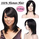 "Brazilian Human Hair Virgin Bob Full Wigs 8""-16"" Inch Real Remy Hair Wavy With Baby Hair Short Bob Wigs Natural Black"