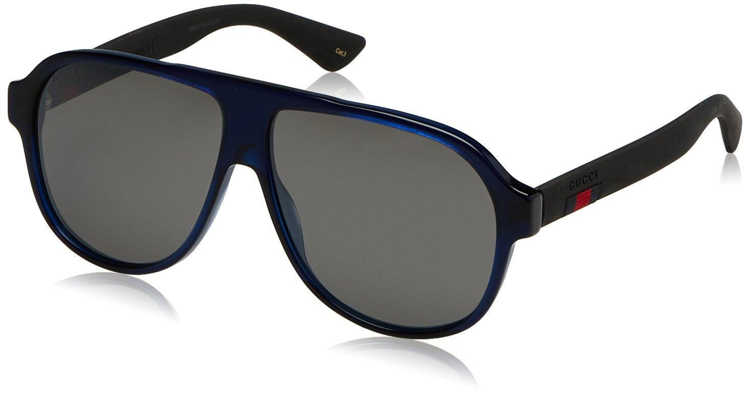 Gucci Men GG0009S 59 Blue/Silver Sunglasses 59mm by Gucci