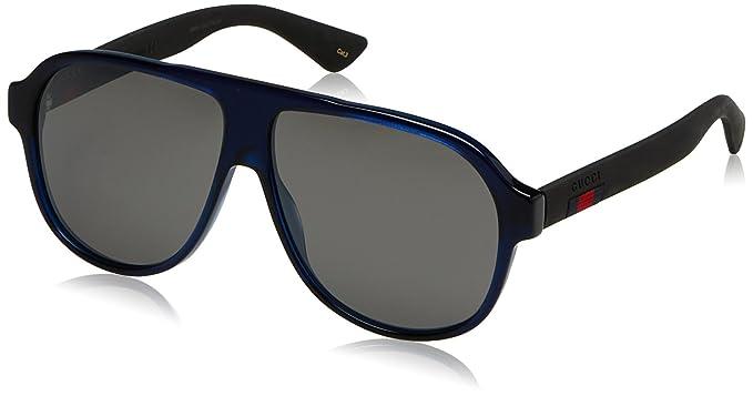 Gucci Herren Sonnenbrille GG0009S 004, Blau (Bluee/Silver), 59