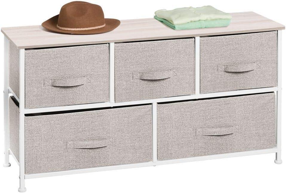 Pratico mobiletto con cassetti in stoffa per camera da letto grigio//bianco ecc Funzionale cassettiera in tessuto per cameretta ingresso mDesign Com/ò in tessuto a 5 cassetti