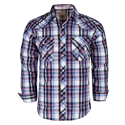 Coevals Club Men's Button Down Plaid Long Sleeve Work Casual Shirt (Blue & Black#21, M)