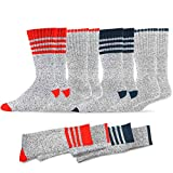 Soxnet Eco Friendly Heavy Weight Recyled Cotton Thermals Boot Socks 4 Pairs (10-13, Stripe-Red/Blue)