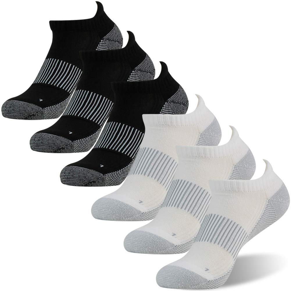 Copper Running Socks, FOOTPLUS Unisex Moisture Wicking Antibacterial Socks, 6 Pairs-3 White Ankle&3 Black Ankle, Large