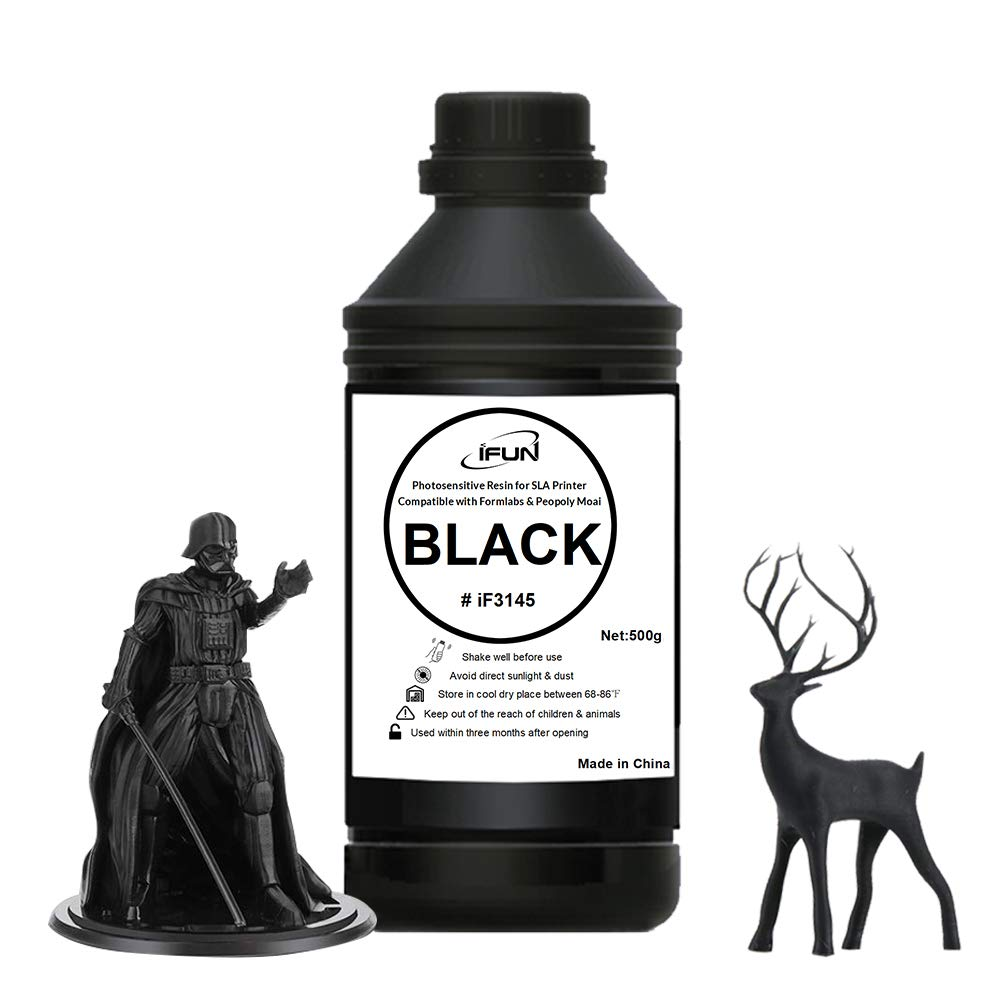 IFUN 3D Resin Black for Laser SLA Printer Compatible with Formlabs Peopoly Moai DWS 405nm Rapid UV Cure 3D Print Resin Liquid 500ml