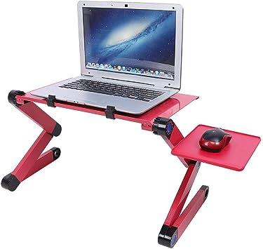 Rehomy Escritorio Plegable de Aluminio para Computadora Port/átil Protable Mesa de Escritorio Bandeja para Mouse de Escritorio