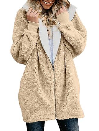 21c8f6569ff Veste A Capuche Femme Automne Manches Hiver Essentiel Longues avec  Fermeture Éclair Hoodie Manteau Elégante Mode
