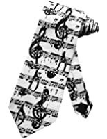 Steven Harris Musical Score Symbols Necktie - White - One Size Necktie
