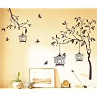 Decals Design 'Tree with Birds and Cages' Wall Sticker (PVC Vinyl, 60 cm x 90 cm, Brown)