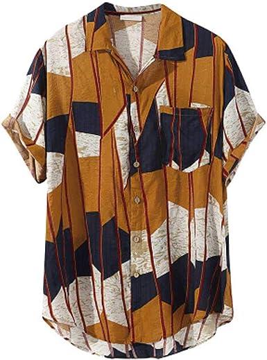 Verano nuevo para hombre de vacaciones estilo playa de manga corta camisas de impresión de flores hawaiano casual camisa de los hombres blusa de ajuste holgado: Amazon.es: Ropa y accesorios