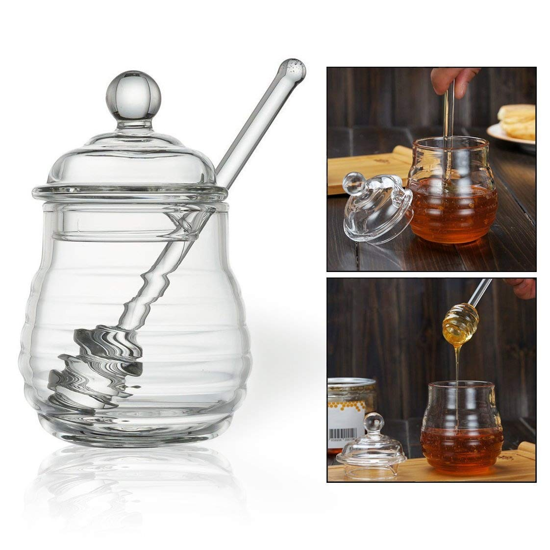 OFKPO Honey Pot With Dipper Glass Honey Jar And Dipper Set