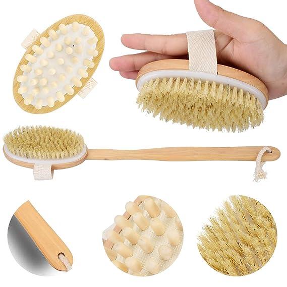 Bad & Dusche Einfach 2 In 1 Abnehmbare Langstieligen Holz Natürlichen Borsten Pinsel Bad Pinsel Massager Baby Bad Dusche Bad Zubehör