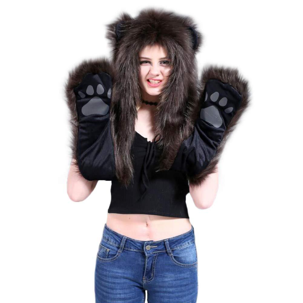 d43815838 HomDSim Animal Hood Hoods Anime Spirit Furry Hoodie,Faux Fur Hat and ...