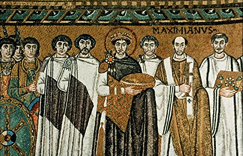 Justinian I (483-565) Nemperor Of The Byzantine Empire 527-565Nemperor Justinian The Great And His Court Mid-6Th Century Byzantine Mosaic From San Vitale Ravenna Poster Print by (24 x - Mosaic Ravenna
