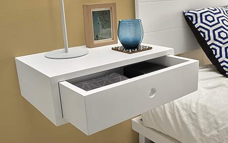 HOGAR24 ES Pack 2 mesitas de Noche flotantes Madera Maciza Color Blanco con 1 cajón Estilo nórdico Vintage. Medidas: Ancho: 45 cm x Fondo: 30 cm x ...