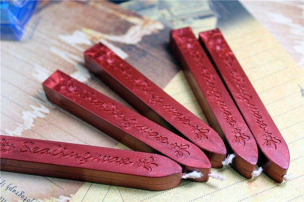 onewiller 5pcs Vino rojo manuscrito sellado sello–Barras de cera para lacrar