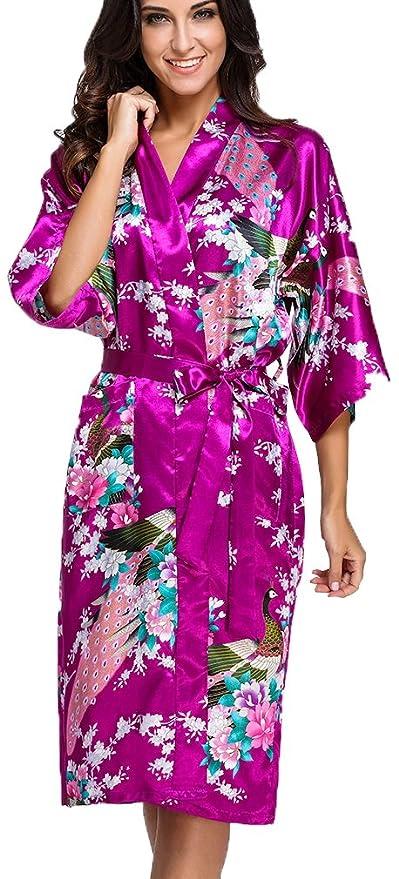 OLIPHEE Mujer Vestido Kimono Floral Satén Largo Pijamas sz-3XL
