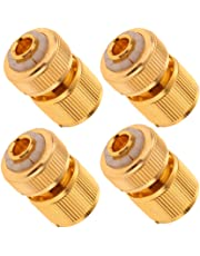 Flameer Garden Hose Quick Connect Fittings, 1/2 Inch Solid Brass, 4 Pcs