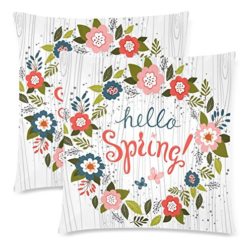 InterestPrint Hello Spring with Wood Throw Pillow Cover Cushion Case 18x18, Flower Wreath Funny Cotton Pillowcase Set for Couch Sofa Home Decorative, Set of 2 by InterestPrint (Image #3)