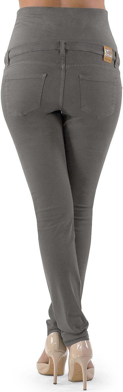 DE 38 - M, Schlamm schlanke Umstandshose MAMAJEANS Venezia Made in Italy Bunte Schwangerschaftshose aus Stretch-Baumwolle