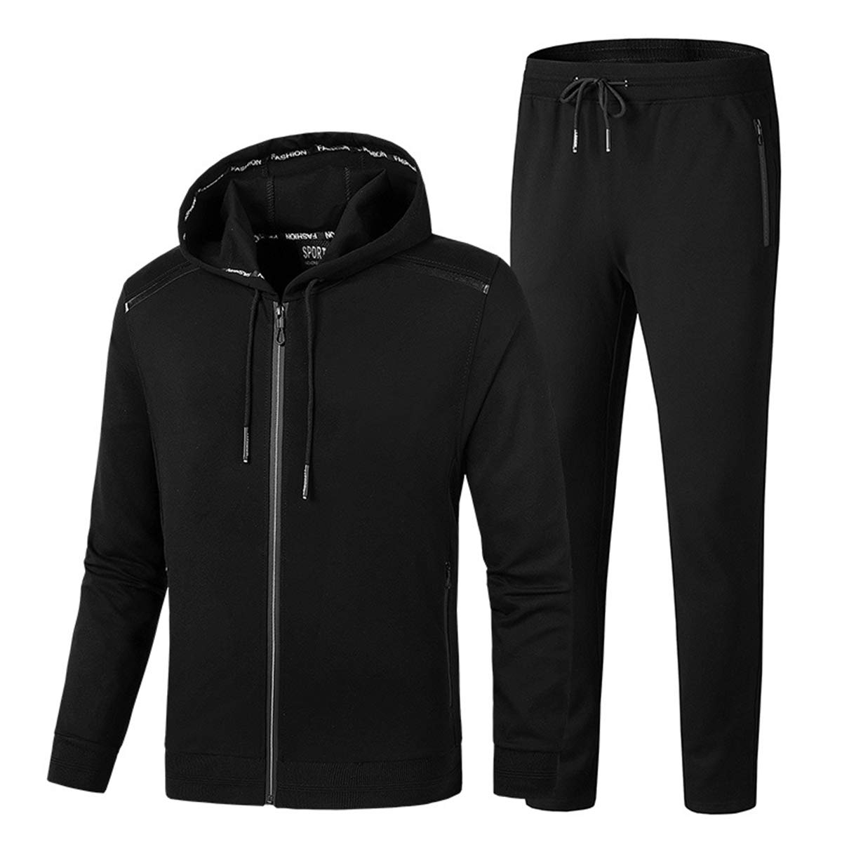 PRIJOUHE Men's Tracksuit Hooded Fitness Sport Suits Gym Hoodie 2 Piece Hoodies Joggers Sweatpants Sets Gym Jogging Tracksuits Black by PRIJOUHE