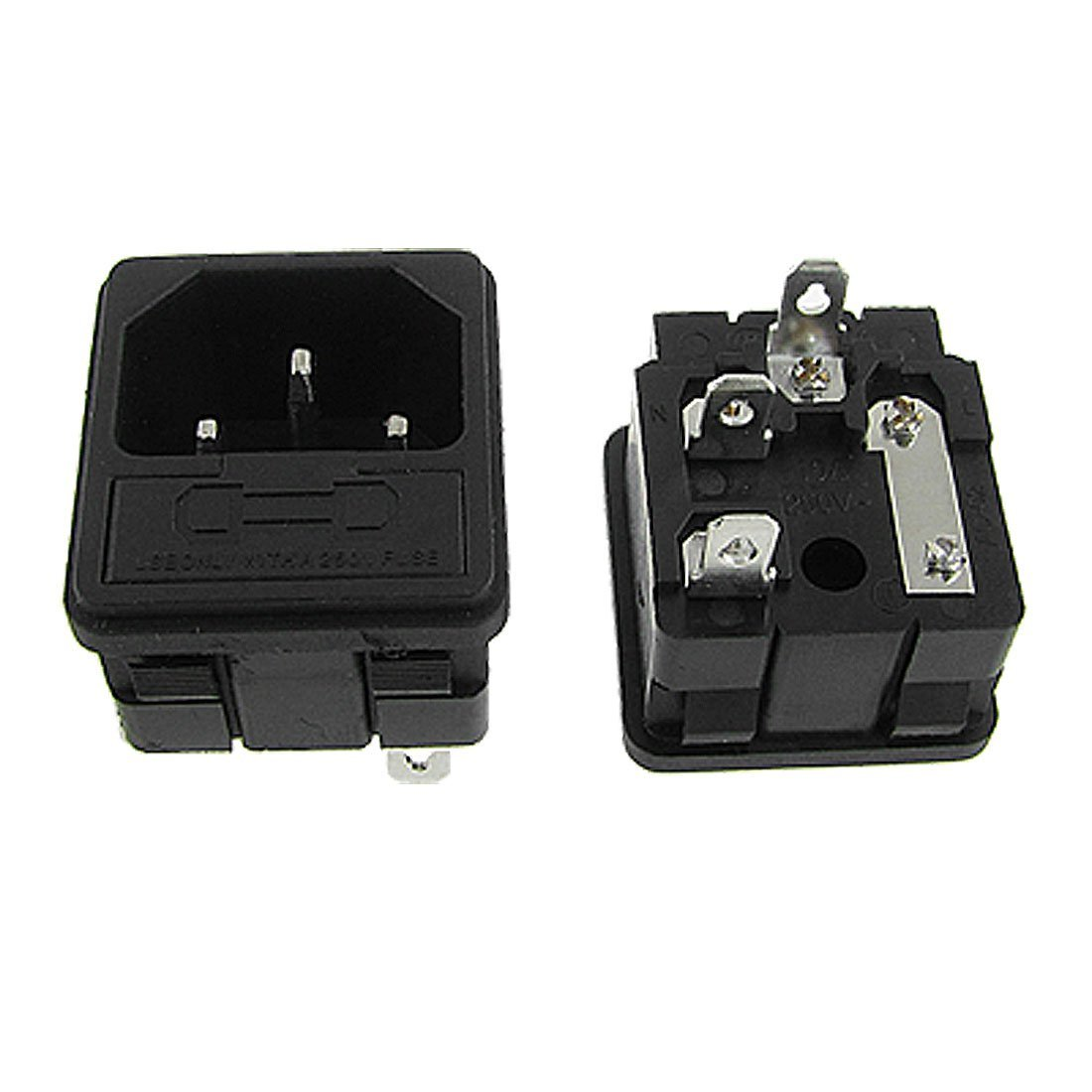 SODIAL(R) 5 x IEC 320 C14 Inlet Male Power Plug Sockets Clamp Type w Fuse Holder