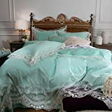 Fancy feather french romantic lace princess wind cotton four-piece set 60high-grade cotton embroidery bedding-A King