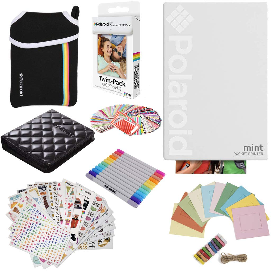 Polaroid Mint Pocket Instant Printer (White) Gift Bundle + Paper (20 Sheets) + Deluxe Pouch + 9 Fun Sticker Sets + Twin Tip Markers + Photo Album + Hanging Frames + 100 Sticker Frame Set