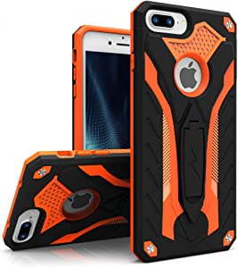 ZIZO Static Series for iPhone 8 Plus Case Military Grade Drop Tested with Kickstand iPhone 7 Plus iPhone 6s Plus Case Black Orange