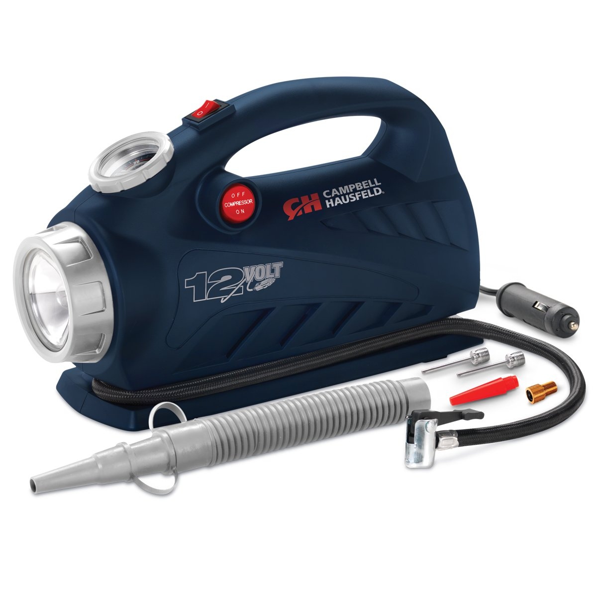 Portable 12 Volt Inflator, Ball & Tire Compressor, LED Light, 100 PSI w/ Nozzles (Campbell Hausfeld AF010600)