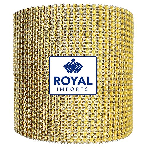 Diamond Rhinestone Bling Ribbon Roll by Royal Imports - Wedding Cake Decoration and Floral Arrangements - 30 Feet10 Yard (x 4.5) Gold