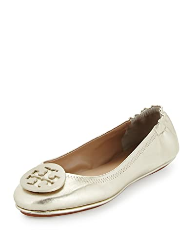 d3156735b2e35c Image Unavailable. Image not available for. Color  Tory Burch Minnie Travel  Logo Ballet Ballerina Flat Gold ...