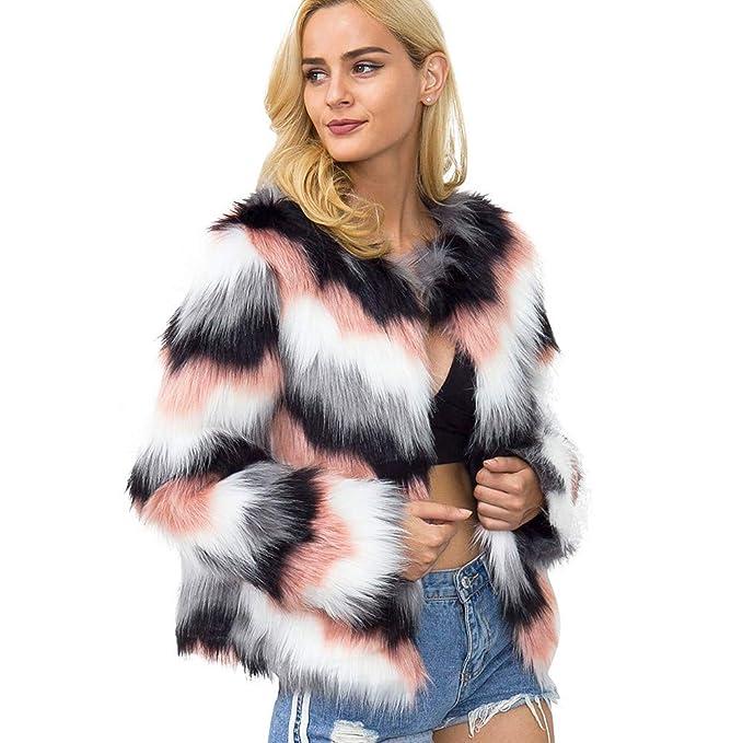 Amazon.com: Clearance! Seaintheson Womens Ladies Winter Warm Faux Fur Coat Jacket Gradient Color Parka Outerwear Tops Overcoat: Clothing