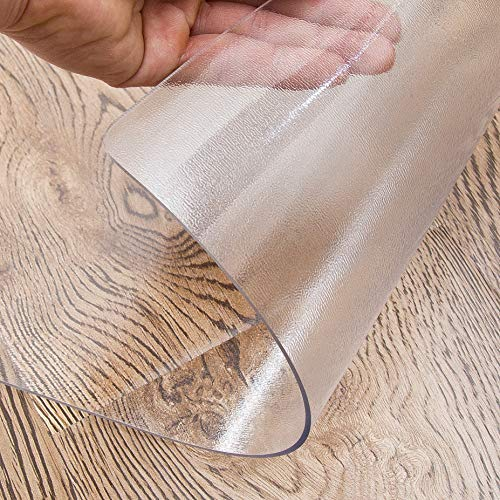 OstepDecor Custom 1.5mm Thick Frosted Table Protector for Dining Room Table – 78 x 36 Inch Kitchen Wood Grain Vinyl Transparent Table Cover Plastic Protective Table Pad
