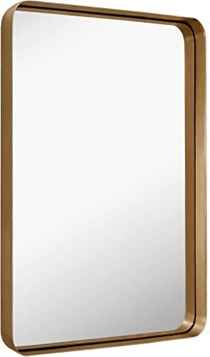 MIRROR TREND Large Metal Framed Wall Mirror for Bathroom Living Room Bedroom Hall and Entryway. 24×36-Inch, Gold Deep Framed